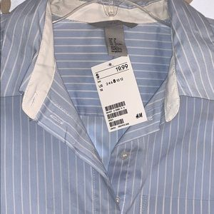 **Never worn with tags. ** Long sleeved pinstripe